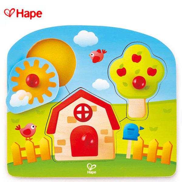 Hape - Бебешки дървен пъзел с дръжки Къщичка H1311