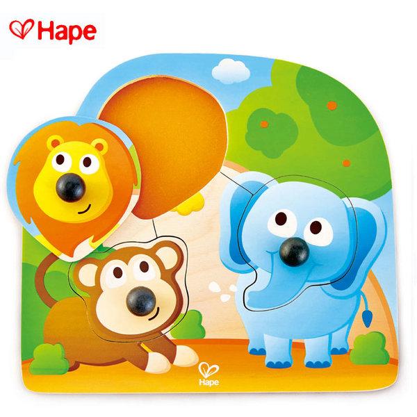 Hape - Бебешки дървен пъзел с дръжки джунгла H1310