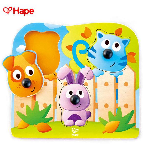 1Hape - Бебешки дървен пъзел с дръжки животни H1309