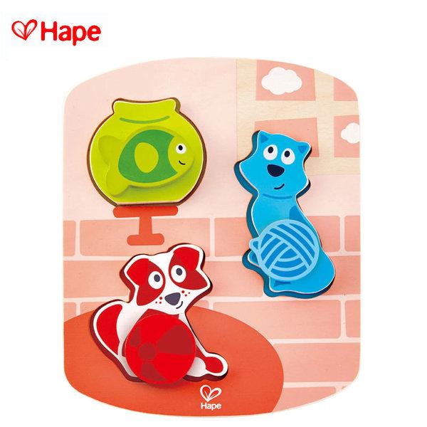 Hape - Дървен пъзел с въртящи се  елементи домашни животни H1610