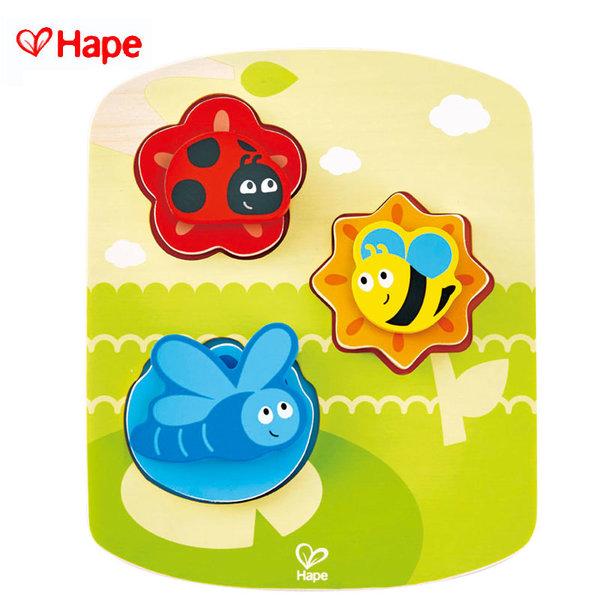 Hape - Дървен пъзел с въртящи се елементи буболечки H1609