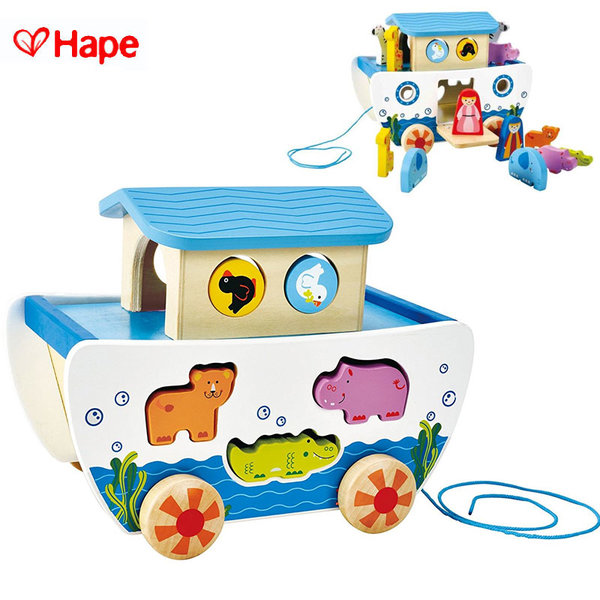 1Hape - Детска дървена играчка за дърпане Кораба на Ной H8049