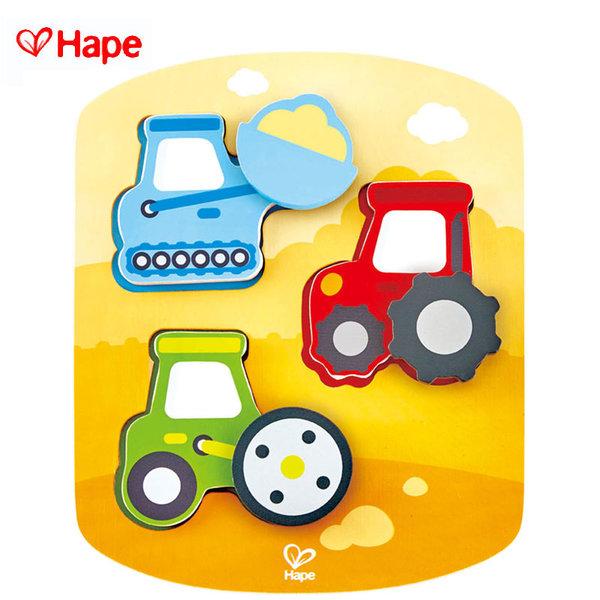 Hape - Дървен пъзел с въртящи се елементи транспортни машини H1608