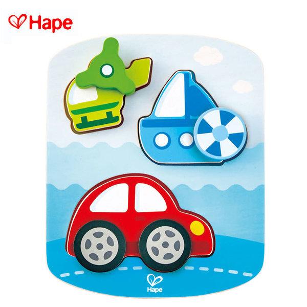 1Hape - Дървен пъзел с въртящи се елементи превозни средства H1607