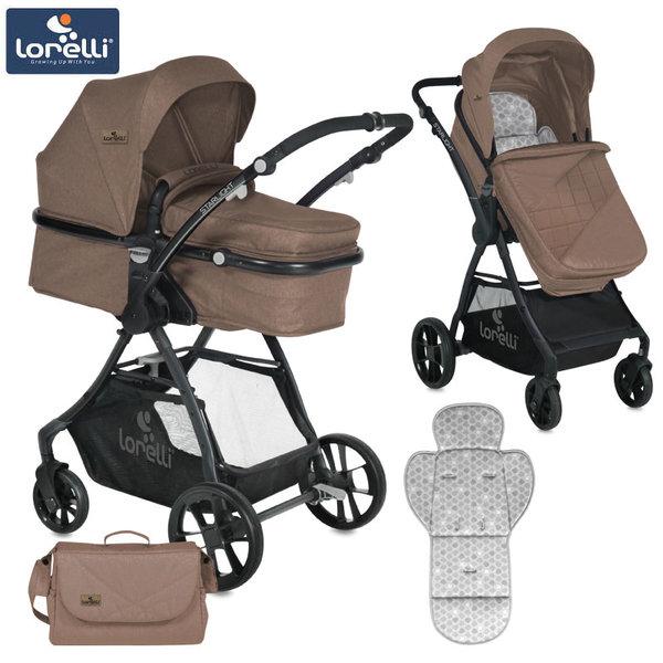 Lorelli - Детска количка STARLIGHT с покривало и чанта BEIGE 10021221863