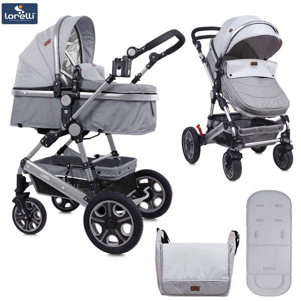 Lorelli - Детска количка LORA с покривало и чанта GREY 10021271838