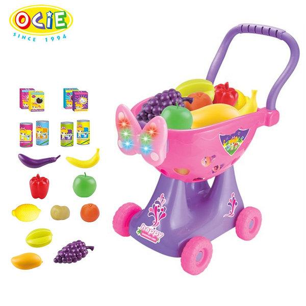 1Ocie - Детска количка за пазаруване със светлини и звуци розова OTG0867754