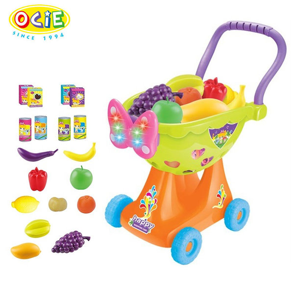 1Ocie - Детска количка за пазаруване със светлини и звуци зелена OTG0867754