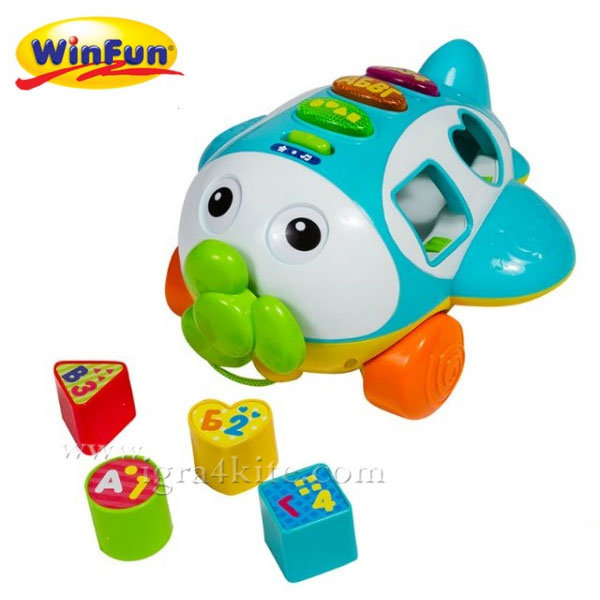 WinFun - Забавна играчка сортер Самолет за дърпане 1505