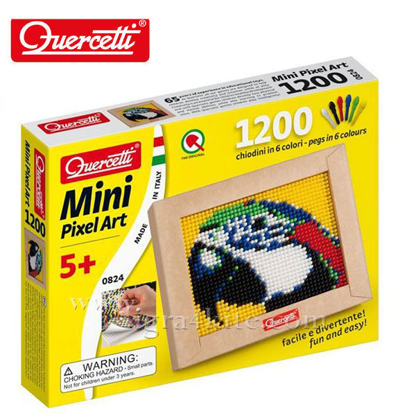 Quercetti - Мозайка 1200ч Папагал Mini Pixel Art 824