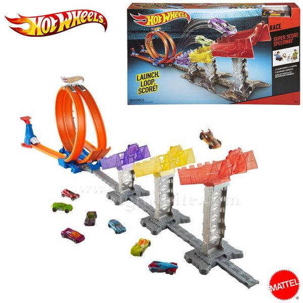 Hot Wheels - Състезателна писта с лупинг и двоен скок djc05