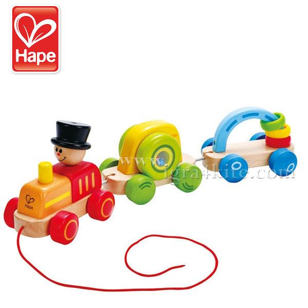 Hape - Дървено цветно влакче за дърпане H0431