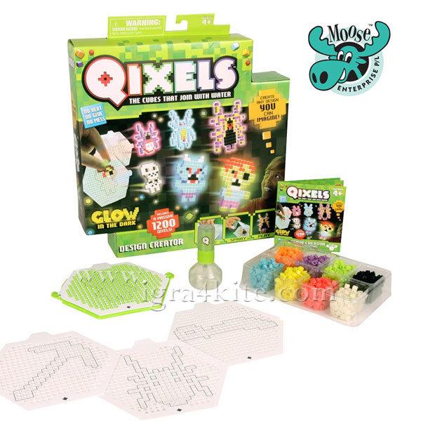 1Moose Qixels - Дизайнерско студио Glow in the dark 1200 кубчета 87044