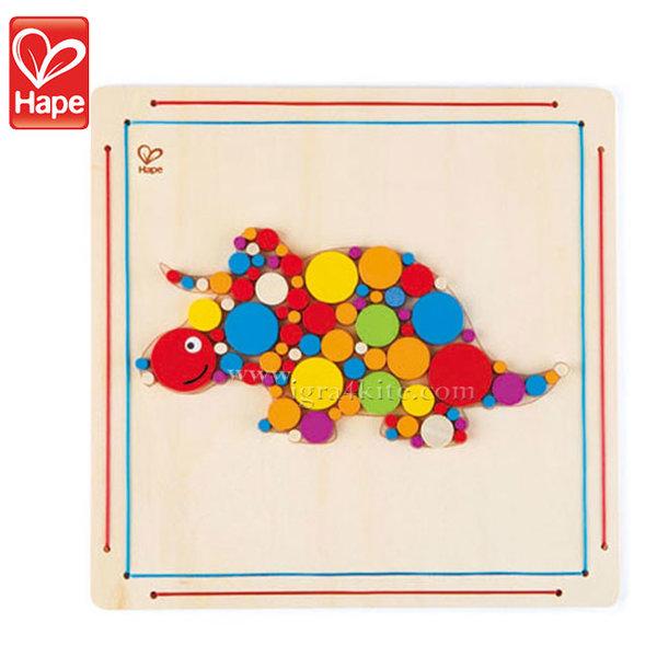 Hape - Дървена мозайка Трицераптор H5137