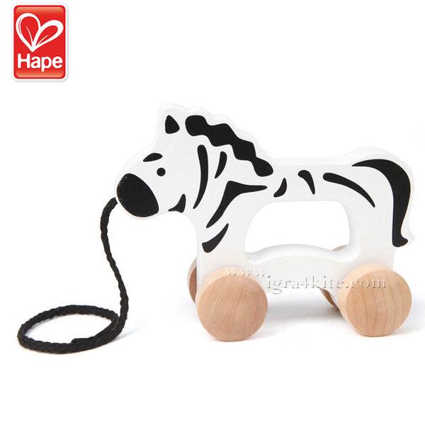 Hape - Дървена зебра за дърпане H0909