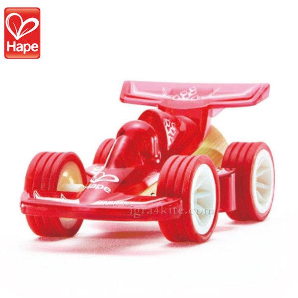 Hape - Детска количка от бамбук червена H5500
