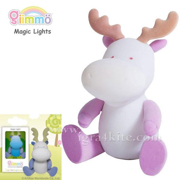 Giimmo - Магическа LED лампа играчка Еленчето Merril розово / синьо