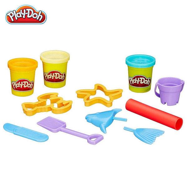 Playdoh - Комплект 4 цвята пластелини + формички - море 23414