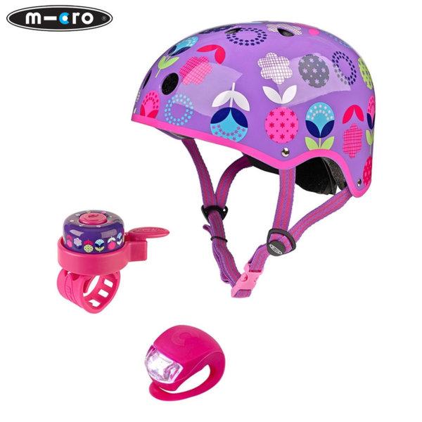 Micro - Детска каска Floral dot M в комплект с фар и звънец AC2075