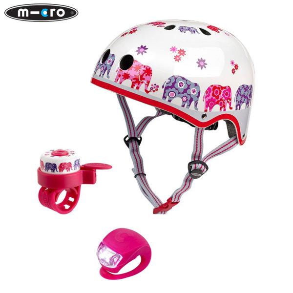 Micro - Детска каска Elephant M в комплект с фар и звънец AC2071