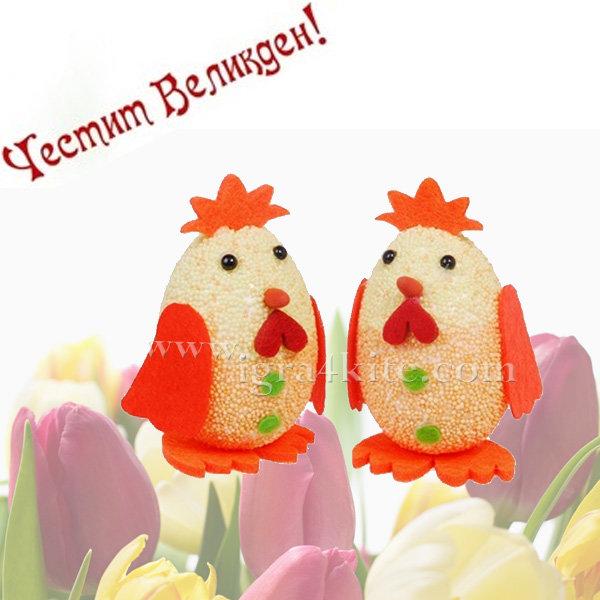 Великденска украса - Великденски кокошки 2бр. 7см 53410