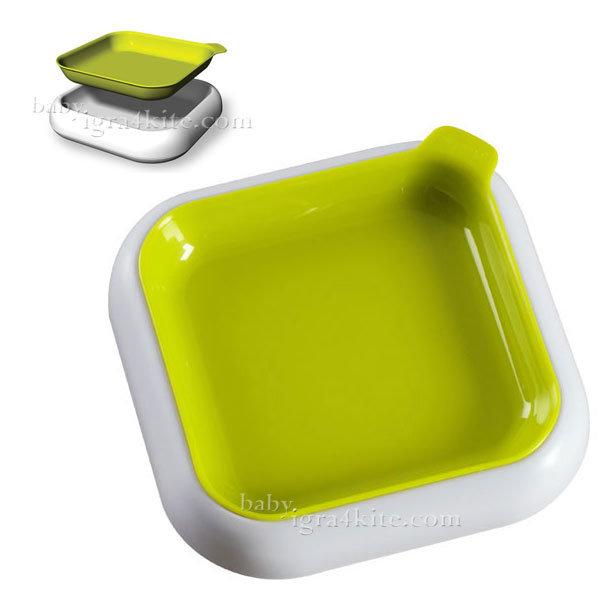 Hoppop - Чиния за хранене 3-в-1 Dobblo Lime