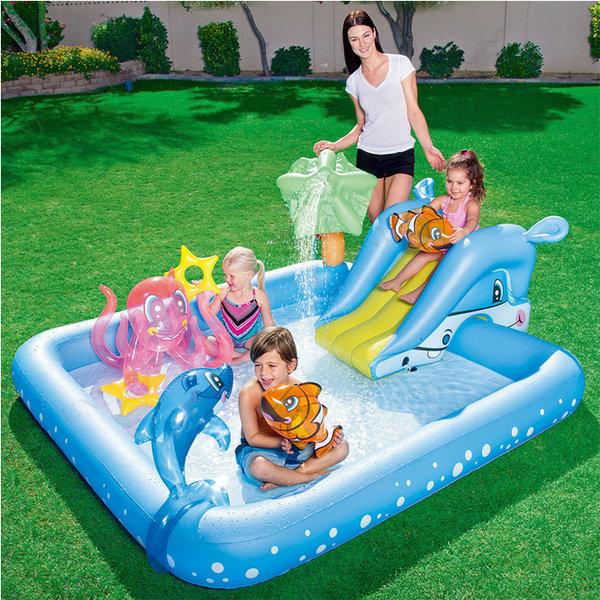 Bestway - Детски надуваем център с пързалка и морски животни 53052