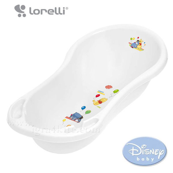 Lorelli - Бебешка вана с източване 100 см Disney Мечо Пух бяла 10130180091