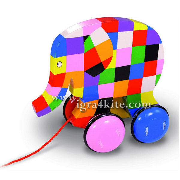 Vilac - Дървена играчка за дърпане Слончето Elmer 5911