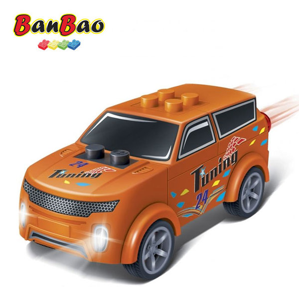1BanBao - Строител 4+ Мини количка Pull&Back оранжева 8627