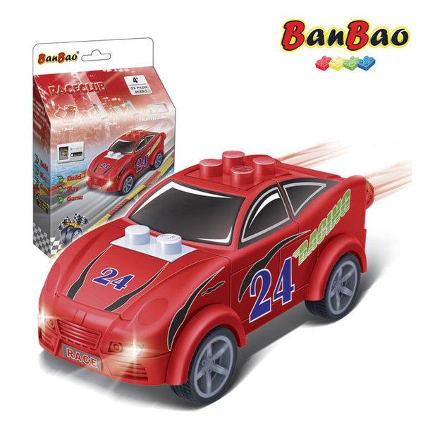1BanBao - Строител 4+ Мини количка Pull&Back червена 8628