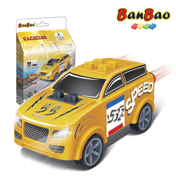 1BanBao - Строител 4+ Мини количка Pull&Back жълта 8629
