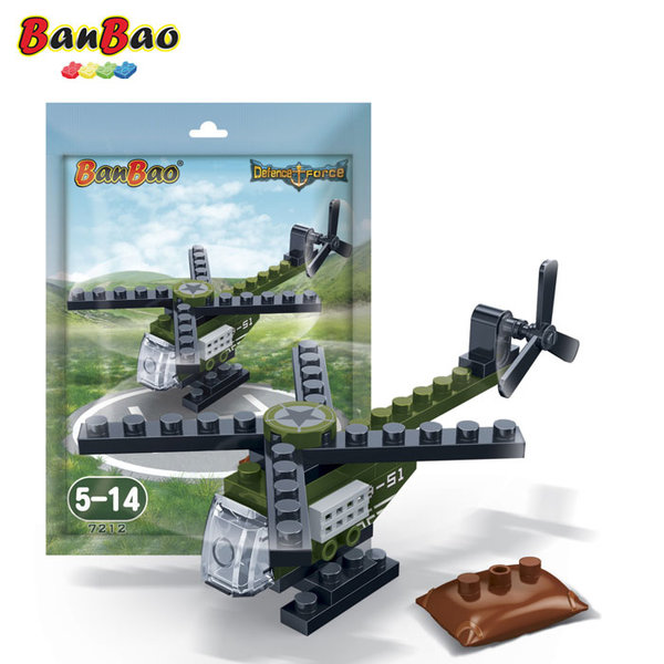 1BanBao - Строител 5+ Мини военен хеликоптер 7212