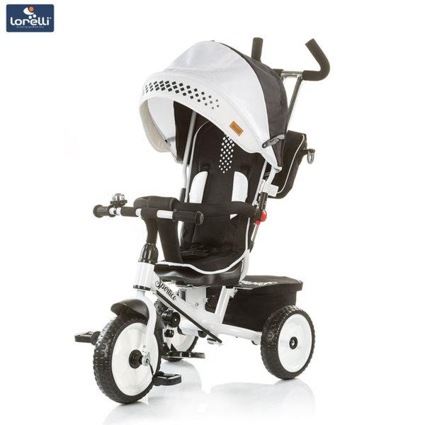 Chipolino - Детска триколка със сенник и родителски контрол Спортико бяло и черно TRKSR0185WB
