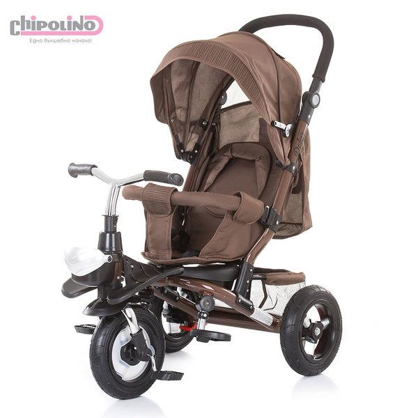 Chipolino - Триколка със сенник и родителски контрол Полар кафява TRKPO0182BR