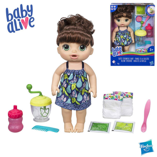 Baby Alive - Кукла бебе брюнетка Време за смяна на пелените Sweet Spoonfuls E0587