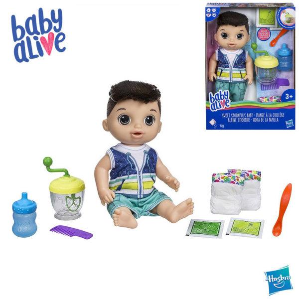 Baby Alive - Кукла бебе момче с кестенява коса Време за смяна на пелените Sweet Spoonfuls E0636