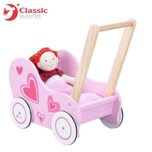Classic World - Детска дървена количка за кукли 2812
