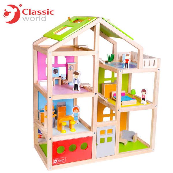 Classic World - Детска дървена куклена къща 4152