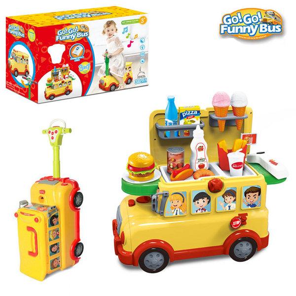 Wanderlong - Павилион за бързо хранене в куфар и кола за бутане с крачета 3в1 Go Go Funny Bus 6836748