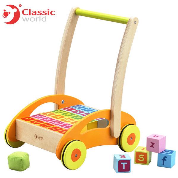 Classic World - Детска дървена проходилка с кубчета 3306