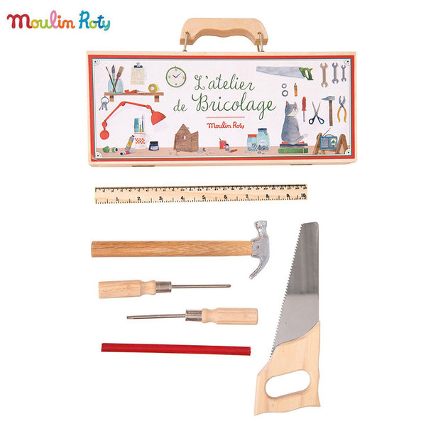 Moulin Roty Детски дървен куфар с инструменти 710408