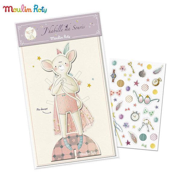 Moulin Roty Хартиена кукла Облечи мишлето 711374