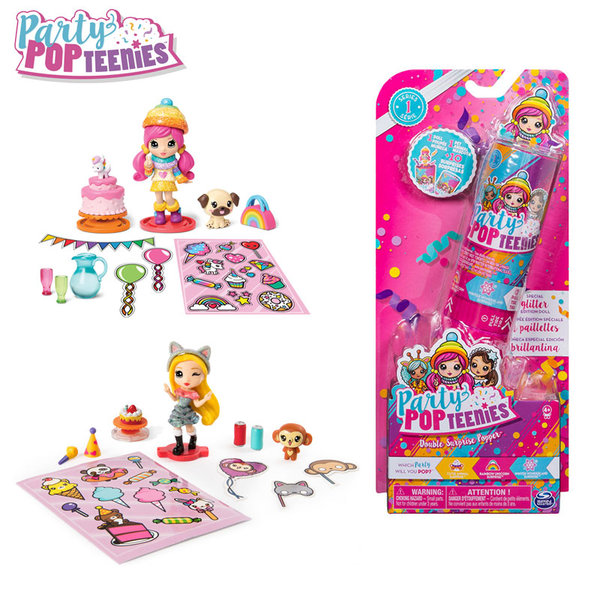 Party Popteenies Двоен конфет с кукличка, животно и аксесоари 6044093