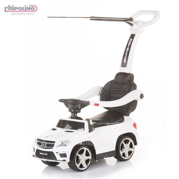 Chipolino Кола за бутане с крачета с родителски контрол и сенник Mercedes Benz GL63 AMG бяла