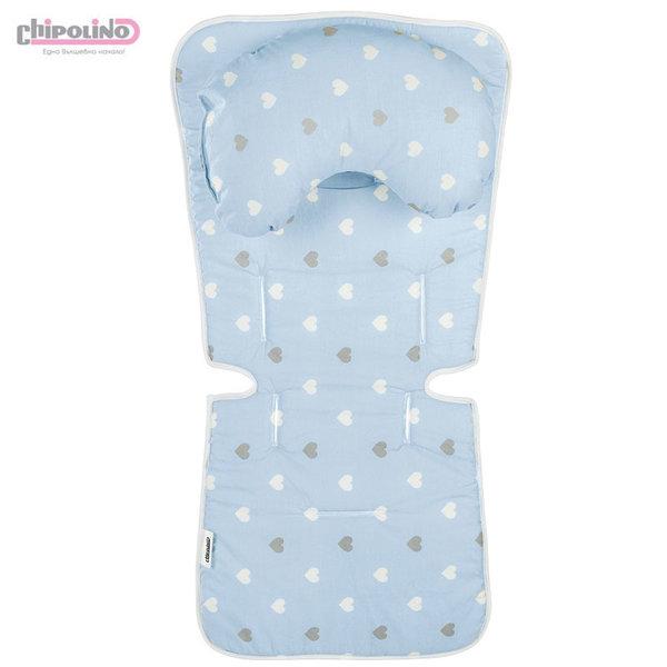 Chipolino Подложка с възглавничка за количка сини сърца