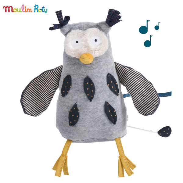 Moulin Roty Плюшено музикално бухалче Mister Owl 18см 666041