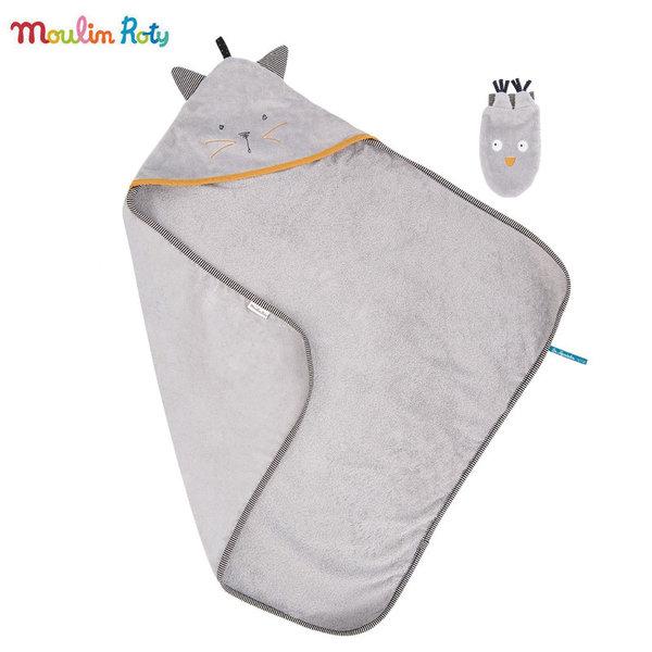 Moulin Roty Детска хавлия и ръкавичка за баня Коте 666270