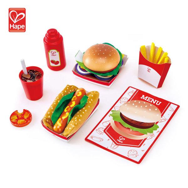 Hape Детски дървен комплект Fast food H3160