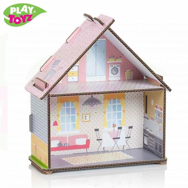 PlayToyz Картонена къща за кукли Small Townhouse